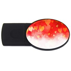 Abstract Love Heart Design USB Flash Drive Oval (2 GB)