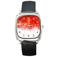 Abstract Love Heart Design Square Metal Watch