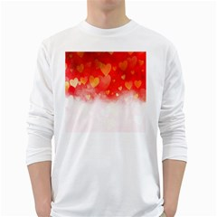 Abstract Love Heart Design White Long Sleeve T Shirts