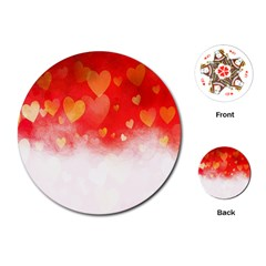 Abstract Love Heart Design Playing Cards (round)