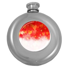 Abstract Love Heart Design Round Hip Flask (5 Oz)