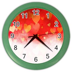 Abstract Love Heart Design Color Wall Clocks
