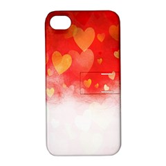 Abstract Love Heart Design Apple iPhone 4/4S Hardshell Case with Stand