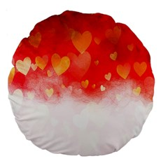 Abstract Love Heart Design Large 18  Premium Flano Round Cushions