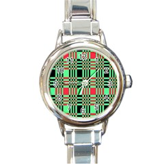 Bright Christmas Abstract Background Christmas Colors Of Red Green And Black Make Up This Abstract Round Italian Charm Watch