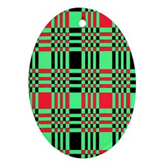 Bright Christmas Abstract Background Christmas Colors Of Red Green And Black Make Up This Abstract Ornament (oval)