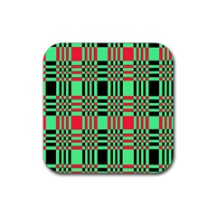 Bright Christmas Abstract Background Christmas Colors Of Red Green And Black Make Up This Abstract Rubber Coaster (Square)