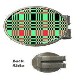 Bright Christmas Abstract Background Christmas Colors Of Red Green And Black Make Up This Abstract Money Clips (Oval)