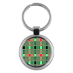 Bright Christmas Abstract Background Christmas Colors Of Red Green And Black Make Up This Abstract Key Chains (round)