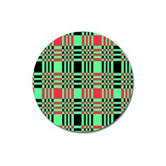 Bright Christmas Abstract Background Christmas Colors Of Red Green And Black Make Up This Abstract Magnet 3  (round)