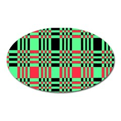 Bright Christmas Abstract Background Christmas Colors Of Red Green And Black Make Up This Abstract Oval Magnet