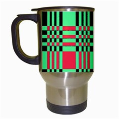 Bright Christmas Abstract Background Christmas Colors Of Red Green And Black Make Up This Abstract Travel Mugs (White)