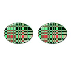 Bright Christmas Abstract Background Christmas Colors Of Red Green And Black Make Up This Abstract Cufflinks (Oval)