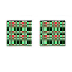 Bright Christmas Abstract Background Christmas Colors Of Red Green And Black Make Up This Abstract Cufflinks (square)