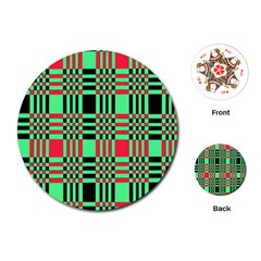Bright Christmas Abstract Background Christmas Colors Of Red Green And Black Make Up This Abstract Playing Cards (round)