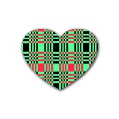 Bright Christmas Abstract Background Christmas Colors Of Red Green And Black Make Up This Abstract Heart Coaster (4 Pack)