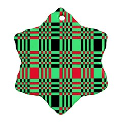 Bright Christmas Abstract Background Christmas Colors Of Red Green And Black Make Up This Abstract Ornament (snowflake)