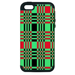 Bright Christmas Abstract Background Christmas Colors Of Red Green And Black Make Up This Abstract Apple Iphone 5 Hardshell Case (pc+silicone)