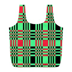 Bright Christmas Abstract Background Christmas Colors Of Red Green And Black Make Up This Abstract Full Print Recycle Bags (l)