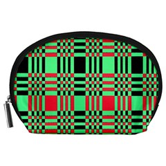 Bright Christmas Abstract Background Christmas Colors Of Red Green And Black Make Up This Abstract Accessory Pouches (Large)