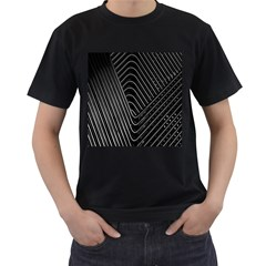 Chrome Abstract Pile Of Chrome Chairs Detail Men s T Shirt (black) (two Sided)