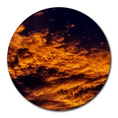 Abstract Orange Black Sunset Clouds Round Mousepads