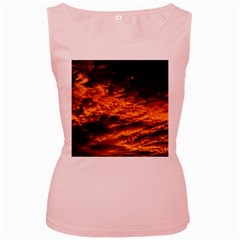 Abstract Orange Black Sunset Clouds Women s Pink Tank Top