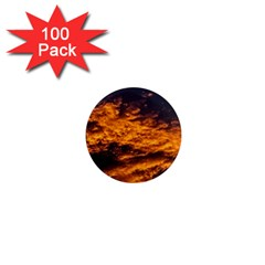 Abstract Orange Black Sunset Clouds 1  Mini Magnets (100 Pack)