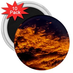Abstract Orange Black Sunset Clouds 3  Magnets (10 Pack)