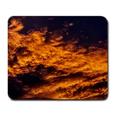 Abstract Orange Black Sunset Clouds Large Mousepads