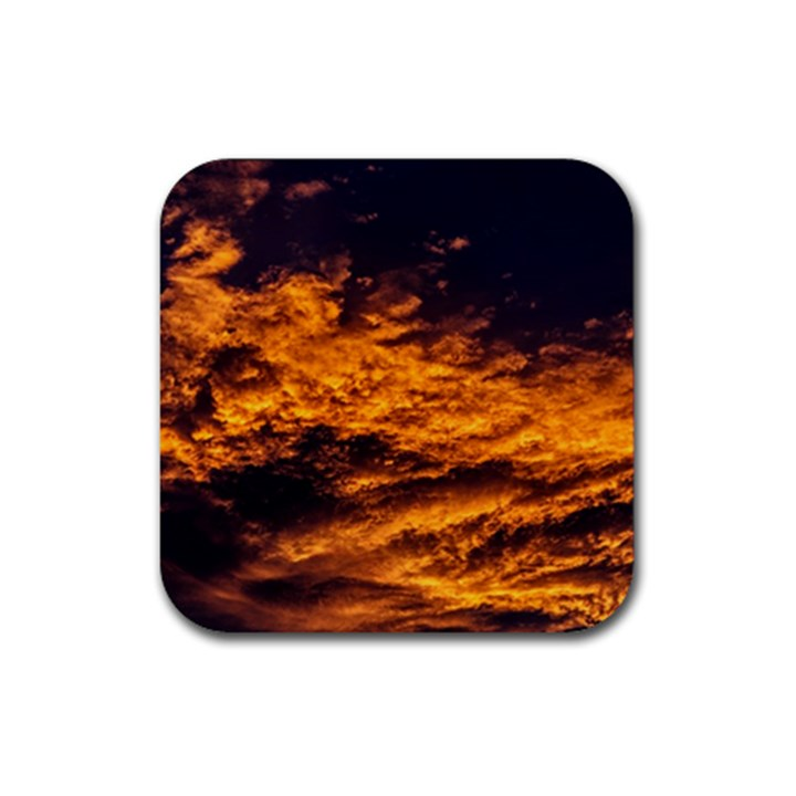 Abstract Orange Black Sunset Clouds Rubber Coaster (Square)