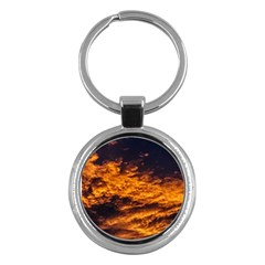 Abstract Orange Black Sunset Clouds Key Chains (round)