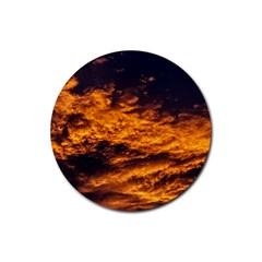 Abstract Orange Black Sunset Clouds Rubber Coaster (round)