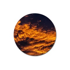 Abstract Orange Black Sunset Clouds Magnet 3  (Round)