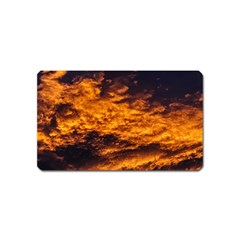 Abstract Orange Black Sunset Clouds Magnet (Name Card)