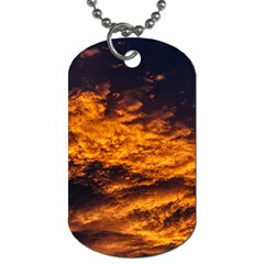 Abstract Orange Black Sunset Clouds Dog Tag (One Side)