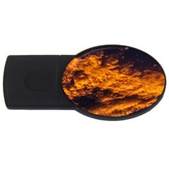 Abstract Orange Black Sunset Clouds USB Flash Drive Oval (2 GB)