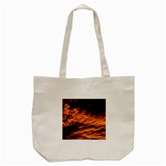 Abstract Orange Black Sunset Clouds Tote Bag (Cream)