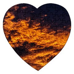 Abstract Orange Black Sunset Clouds Jigsaw Puzzle (Heart)