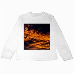 Abstract Orange Black Sunset Clouds Kids Long Sleeve T-Shirts
