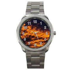 Abstract Orange Black Sunset Clouds Sport Metal Watch