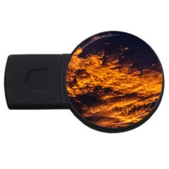 Abstract Orange Black Sunset Clouds Usb Flash Drive Round (4 Gb)