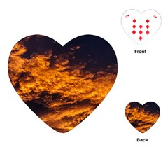 Abstract Orange Black Sunset Clouds Playing Cards (Heart)