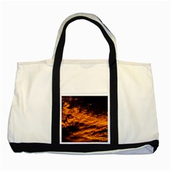 Abstract Orange Black Sunset Clouds Two Tone Tote Bag