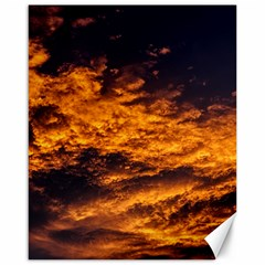 Abstract Orange Black Sunset Clouds Canvas 16  X 20
