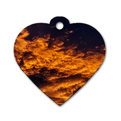 Abstract Orange Black Sunset Clouds Dog Tag Heart (two Sides)