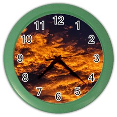 Abstract Orange Black Sunset Clouds Color Wall Clocks