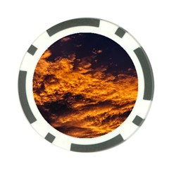 Abstract Orange Black Sunset Clouds Poker Chip Card Guard