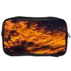 Abstract Orange Black Sunset Clouds Toiletries Bags 2 Side