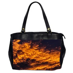 Abstract Orange Black Sunset Clouds Office Handbags (2 Sides)